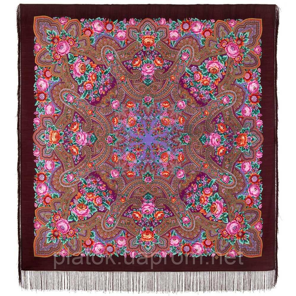 Подарок с ярмарки 1858-7, павлопосадский платок шерстяной  с шелковой бахромой