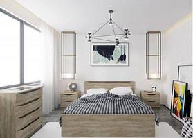 """Меблі в спальню """"Смайл"""" від Гербор (дуб бруніко/ільм бергамо)."""
