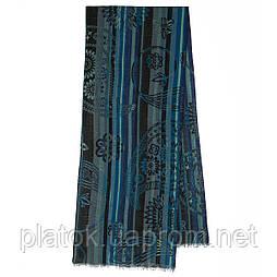 10370-14 кашне мужское, павлопосадский шарф (кашне) шерстяной (разреженная шерсть) с осыпкой