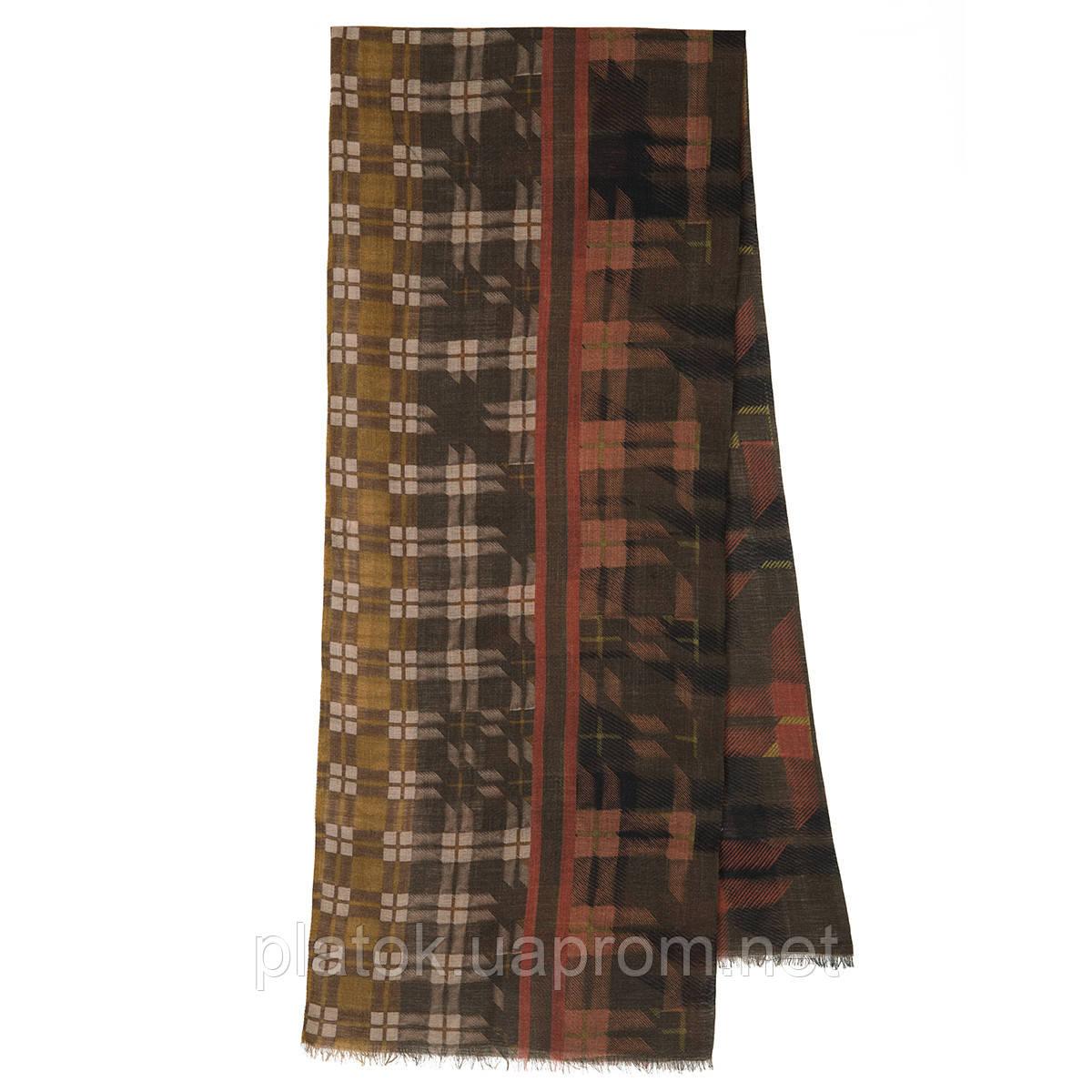 10371-16 кашне мужское, павлопосадский шарф (кашне) шерстяной (разреженная шерсть) с осыпкой