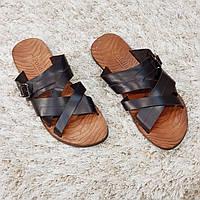 Сабо шлепанцы летние мужские из натуральной кожи Poldini коричневые