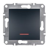Выключатель одноклавишный проходной с подсветкой самозажимные контакты   ASFORA Schneider Electric Антрацит