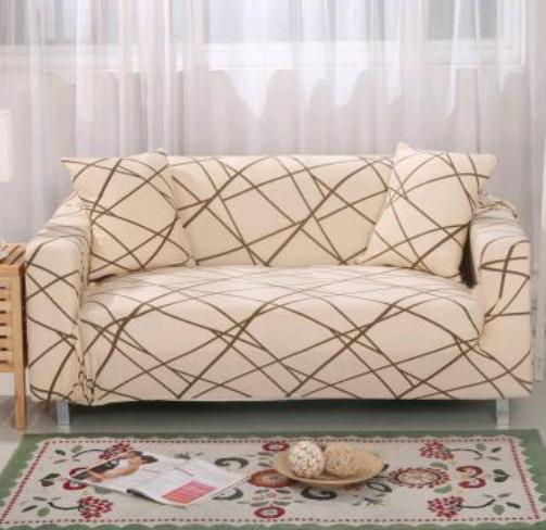 Чохол для двомісного дивана (бежевий з візерунком)