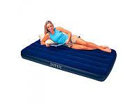 Велюровый надувной матрас Intex 68757 размером 99-191-22см, синий