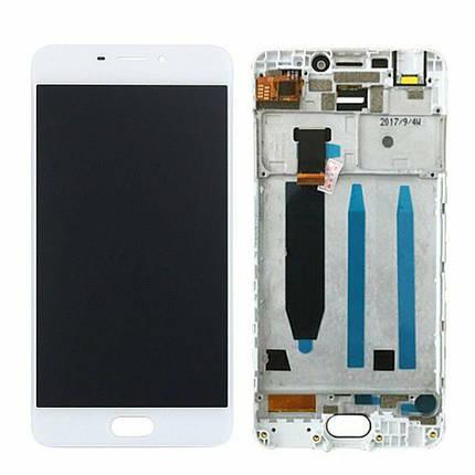 Дисплей (экран) для Meizu M6 (M711M) с сенсором (тачскрином) и рамкой белый, фото 2