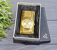 """Стильная зажигалка """"Часы с подсветкой"""" в подарочной коробочке золотистые, фото 1"""