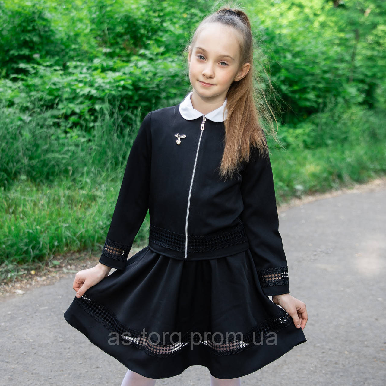 """Школьный костюм двойка  для девочки """"Дарин-2"""" черный, синий"""