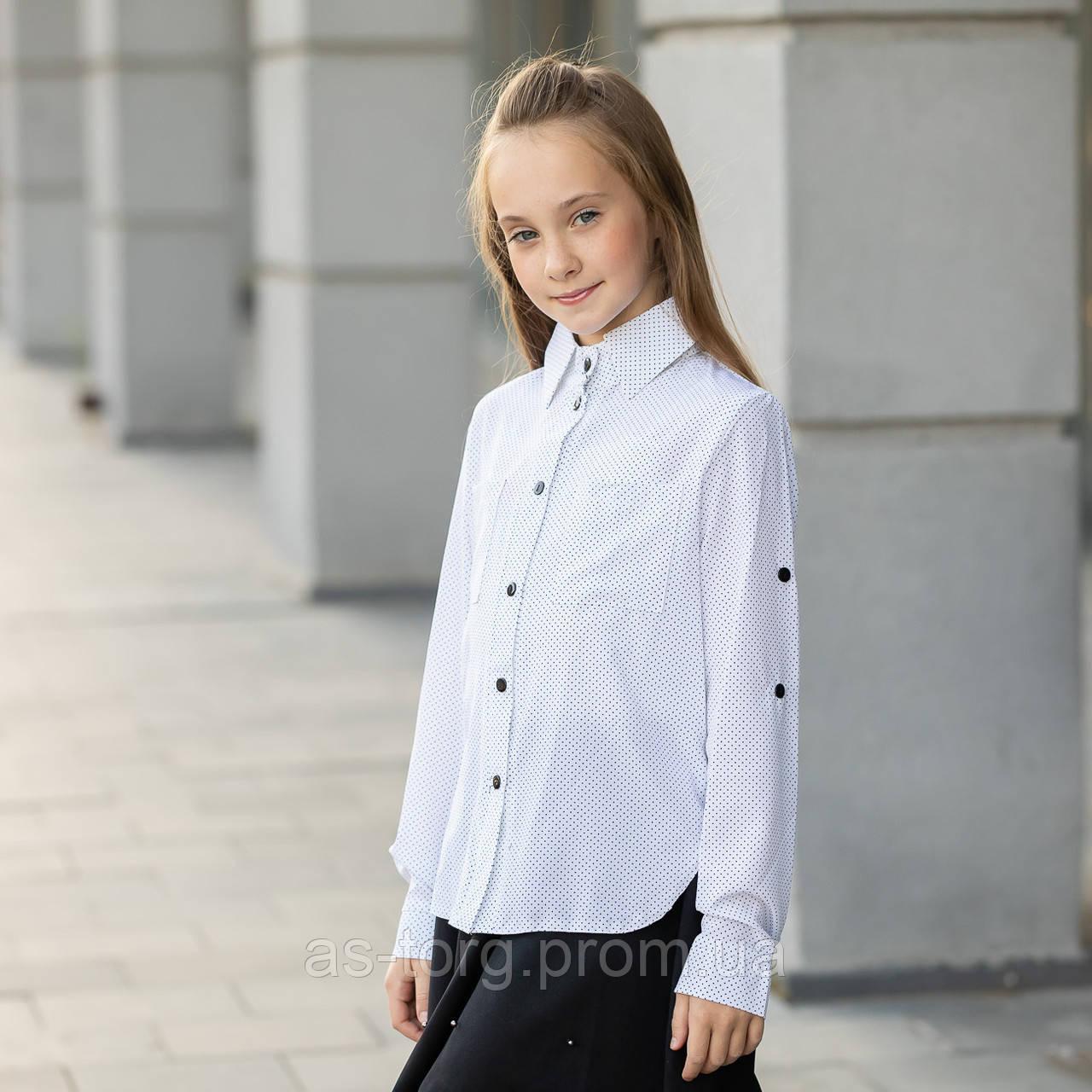 """Блузка школьная для девочки длинный рукав, на выпуск """"Мика"""""""