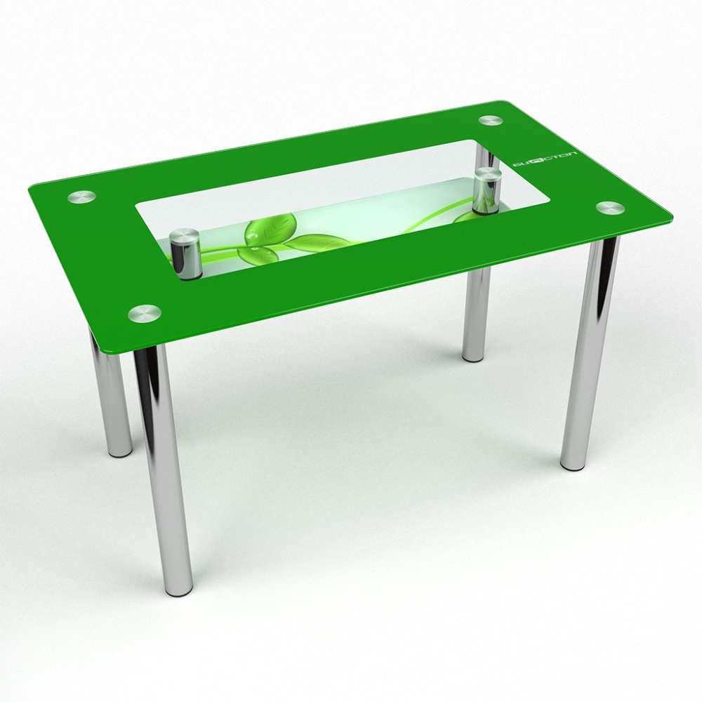 Стол кухонный стеклянный Прямоугольный с полкой Verde 91х61 *Эко (БЦ-стол ТМ)