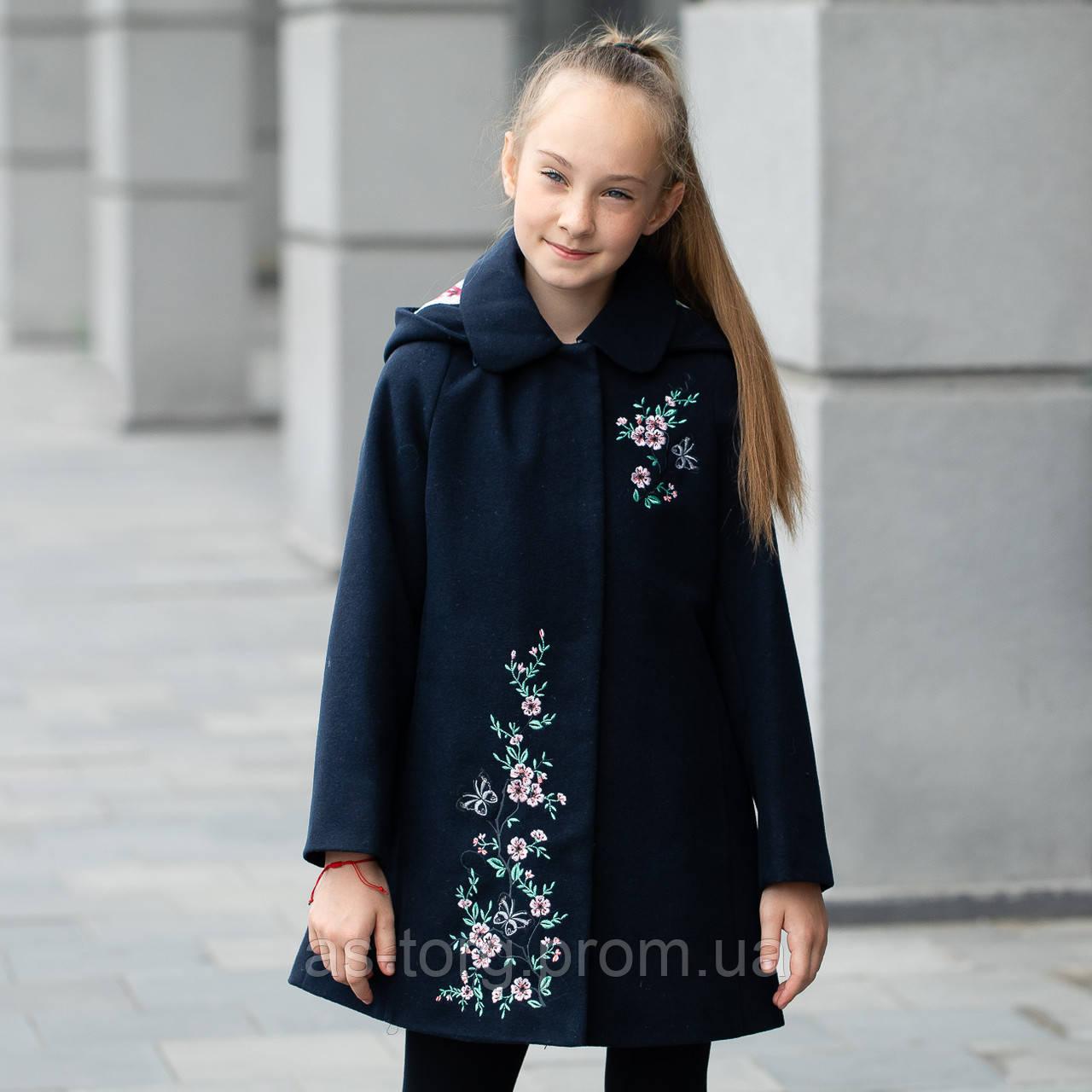 Элегантное кашемировое пальто с капюшоном для девочки «Сакура-1»