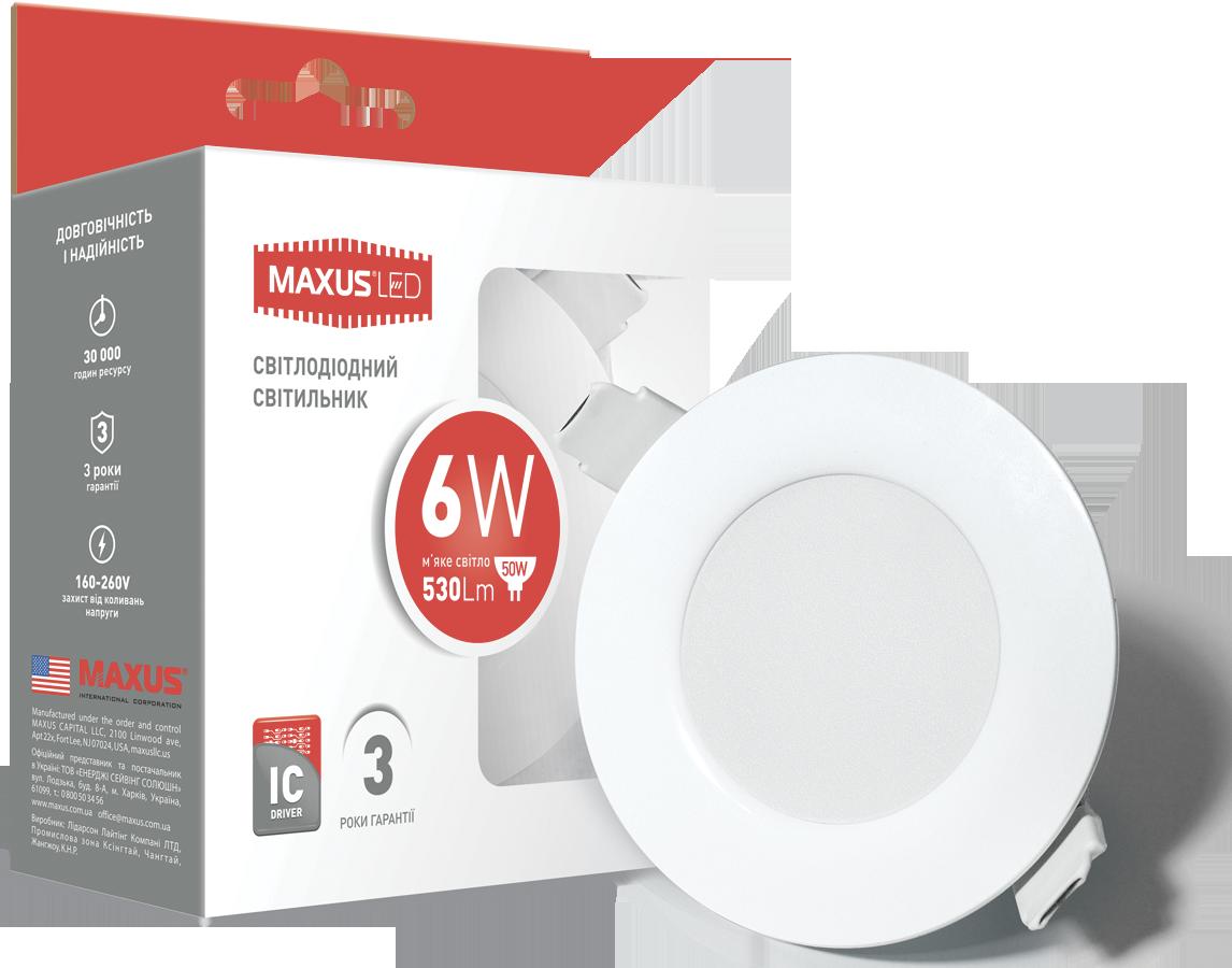 LED світильник MAXUS SDL, 6W тепле світло