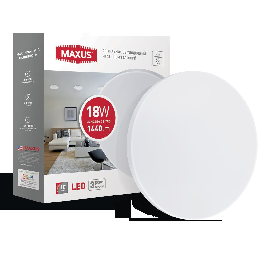 MAXUS LED світильник накладної 18W яскраве світло