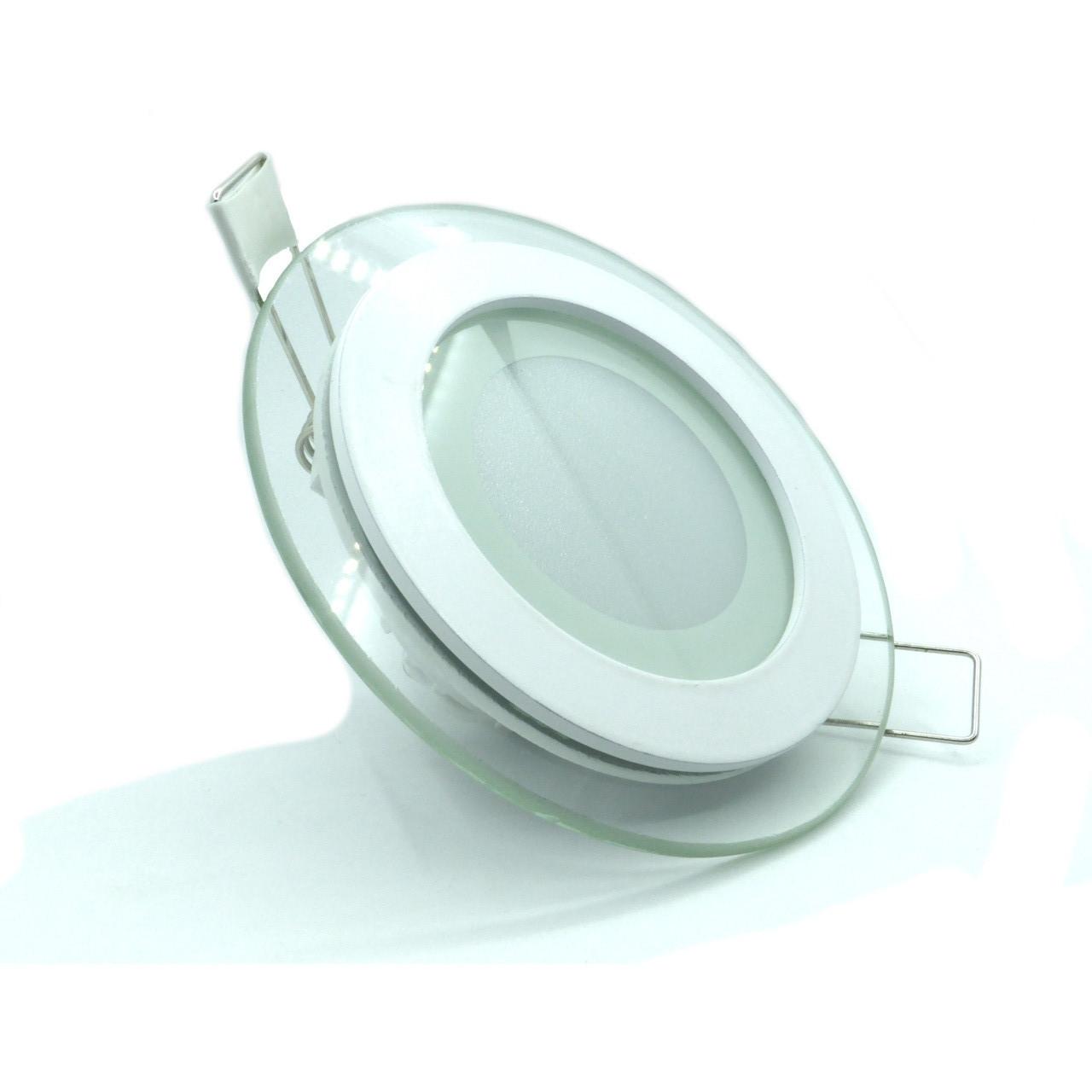 """Світлодіодний LED світильник вбудований (СКЛО) панель 6 W, 420 Лм, """"Коло"""" або """"Квадрат"""""""