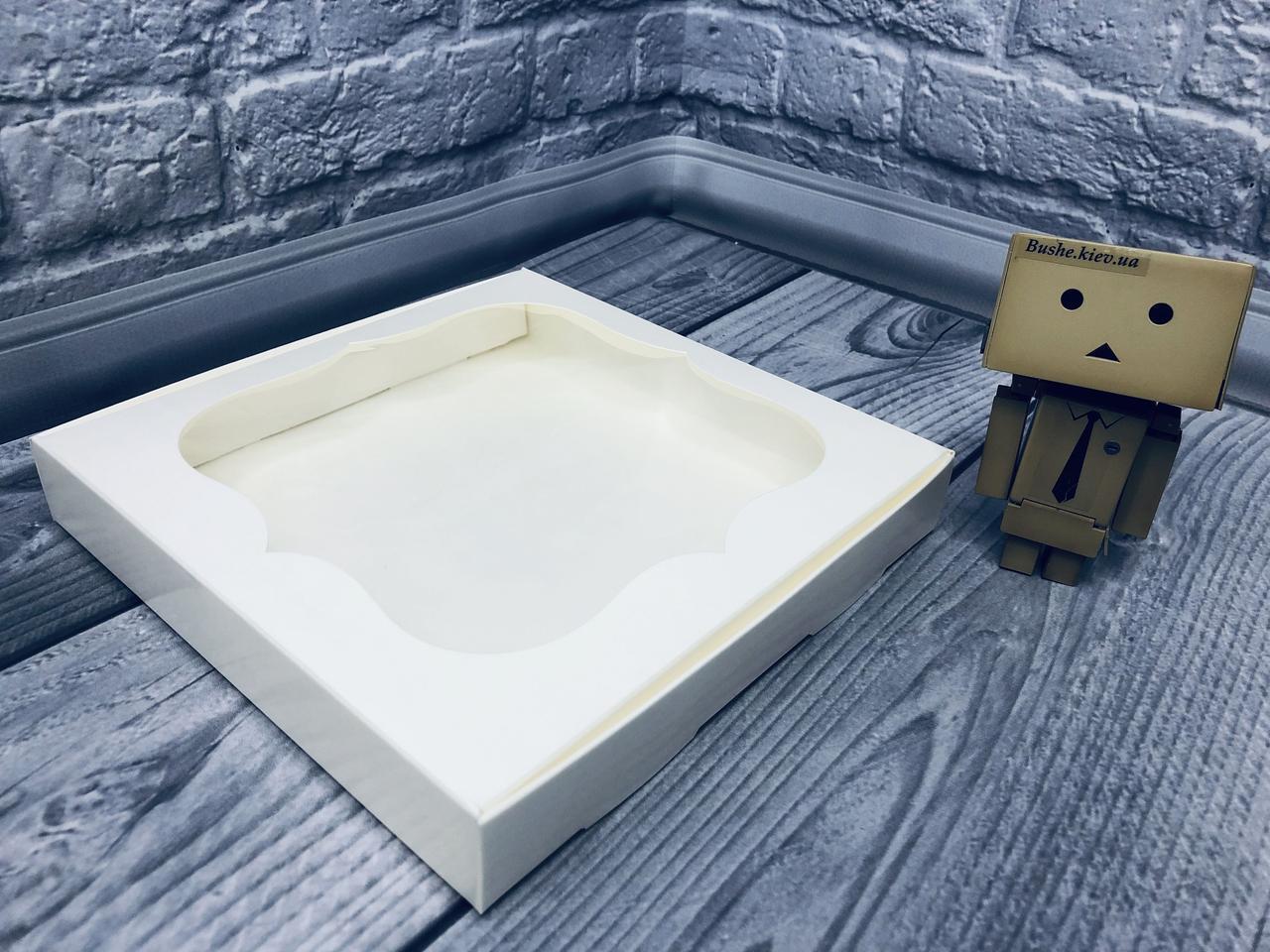 Коробка для пряников / 200х200х30 мм / Молочн / окно-обычн