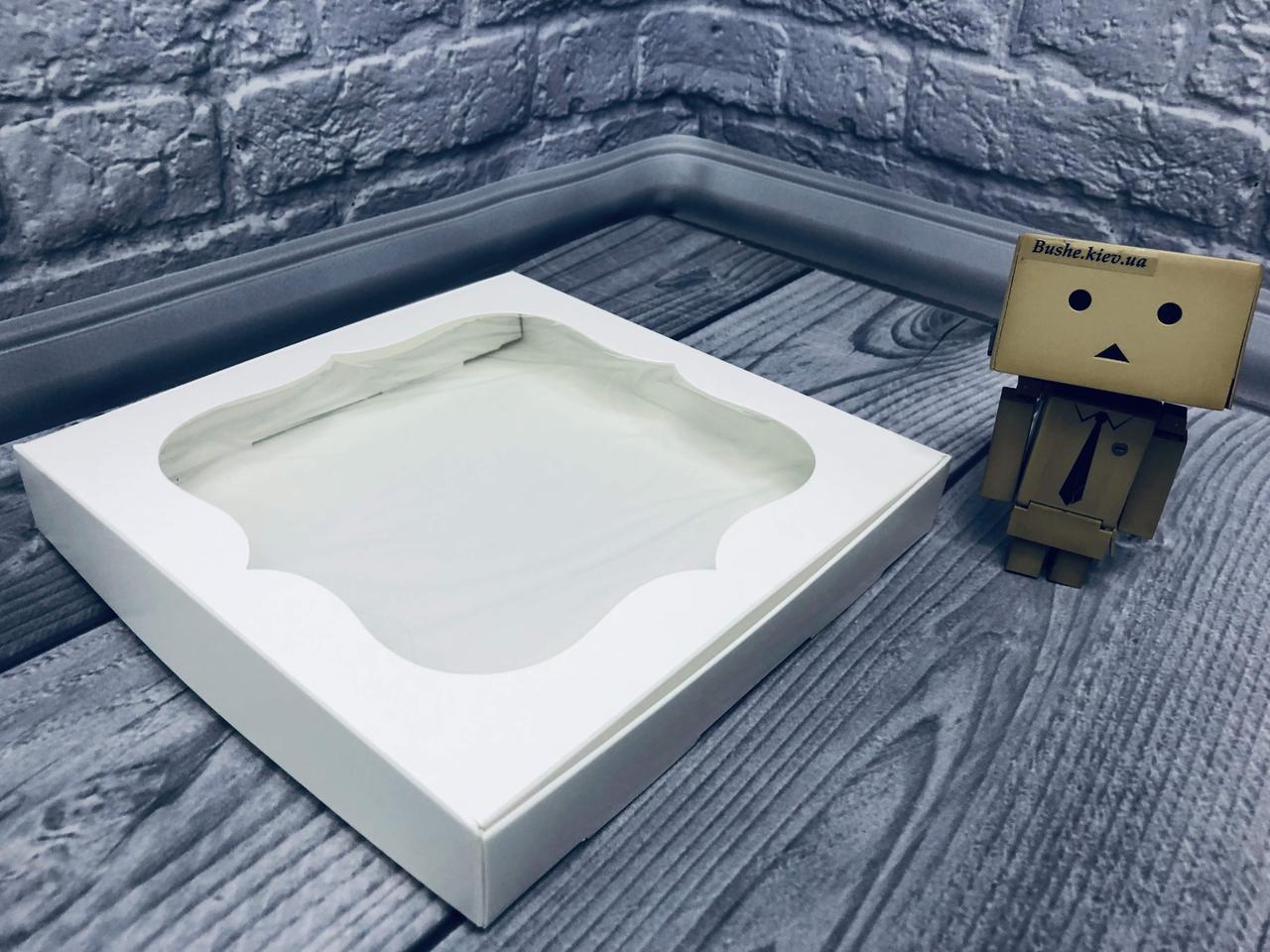 *10 шт* / Коробка для пряников / 200х200х30 мм / Белая / окно-обычн