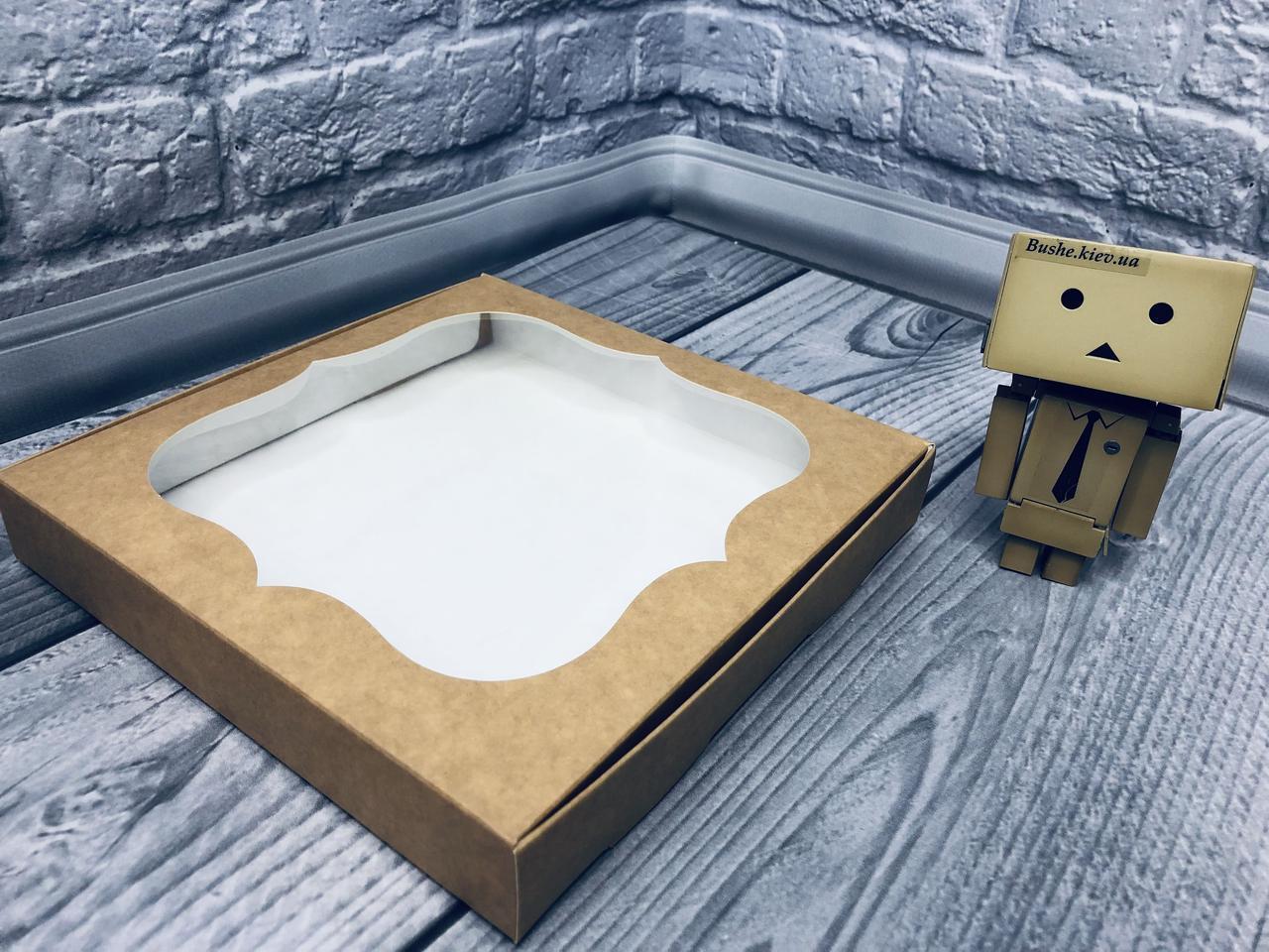 *10 шт* / Коробка для пряников / 200х200х30 мм / Крафт / окно-обычн