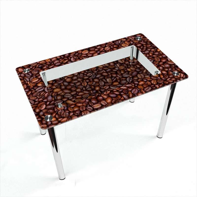 Стол кухонный стеклянный Прямоугольный с полкой Coffee aroma 91х61 *Эко (БЦ-стол ТМ)
