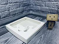 *10 шт* / Коробка для пряников / 200х200х30 мм / Белая / окно-Бабочка