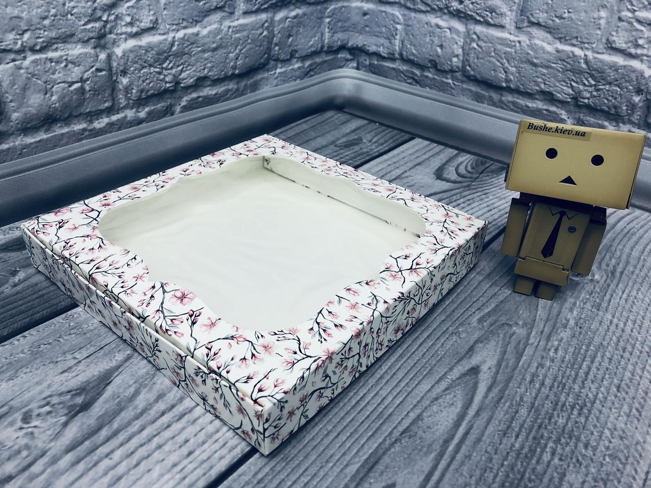 *10 шт* / Коробка для пряников / 200х200х30 мм / печать-Сакура/ окно-обычн / лк / цв