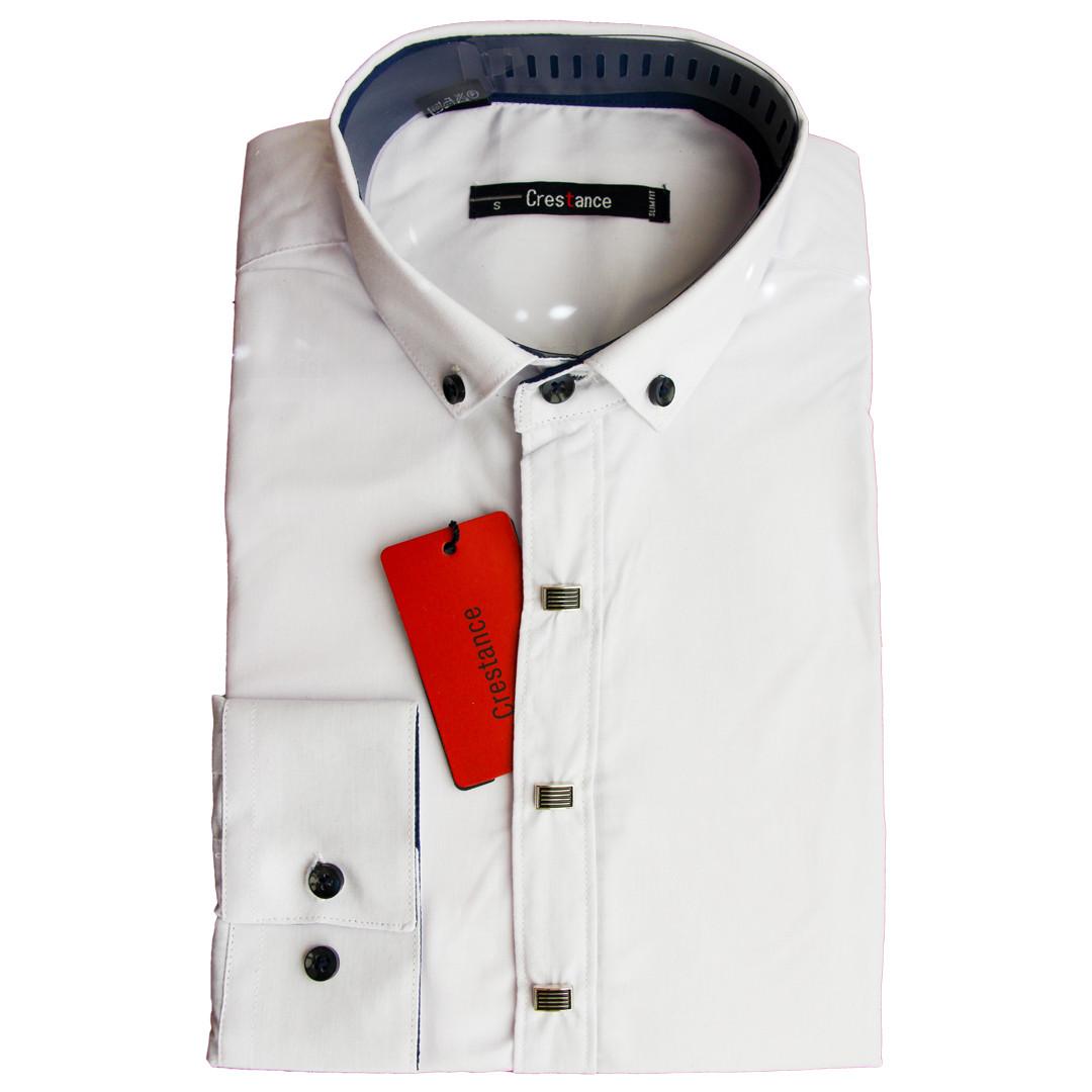 Підліткова сорочка для хлопчика Crestance з довгим рукавом трансформер приталена біла на кнопках