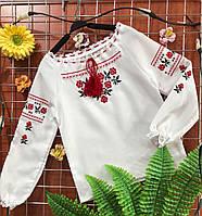 Вышиванка с красной вышивкой ЛЕН 116р-158р