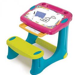 """Пластиковая парта-мольберт с выдвижным ящиком """"Магическая"""" Smoby, Pink 2+ (420219)"""
