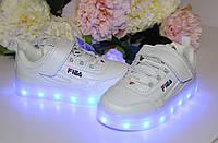 Детские белые LED кроссовки на USB зарядке