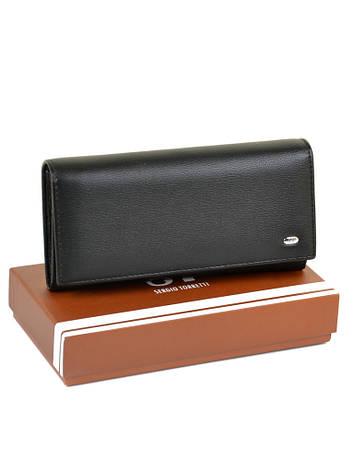 Великий жіночий гаманець Чорний ST штучна-шкіра SERGIO TORRETTI W501 чорний, фото 2