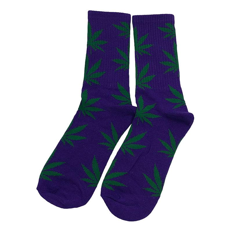Носки женские МК-1436 высокие фиолетовые зеленый лист (р37-45)