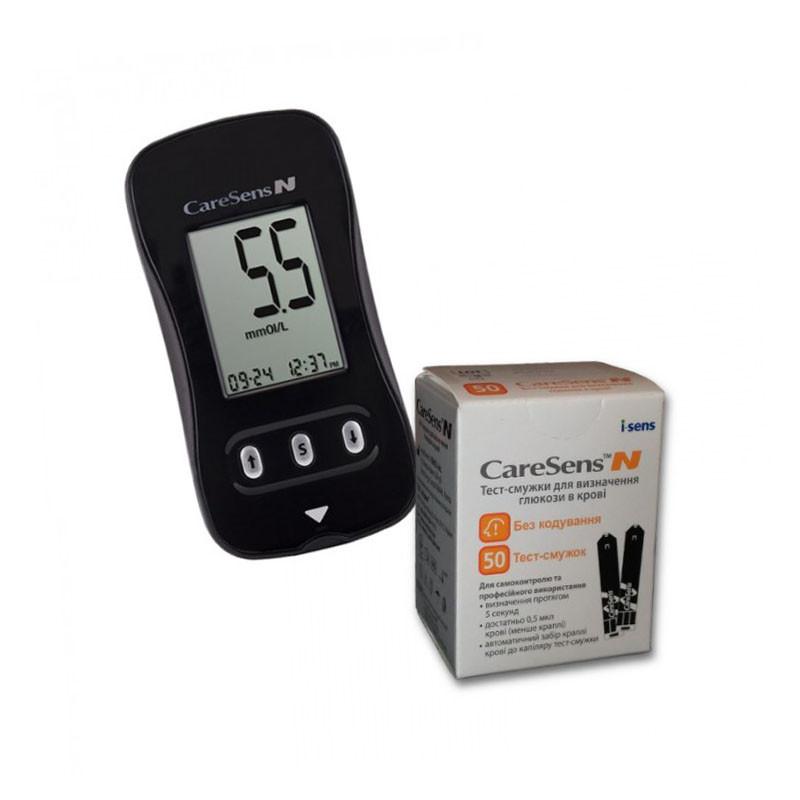 Глюкометр CareSens N набор + тест полоски CareSens N №50 (60 шт.)