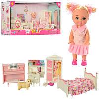 Кукла DEFA 8413, 10,5см, спальня, мебель, пианино-музыка, собачка, на батарейке