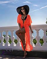 Пляжная туника на море, парео в оранжевом цвете