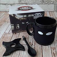Керамическая кружка Ниндзя с ложкой и подставкой Ninja mug