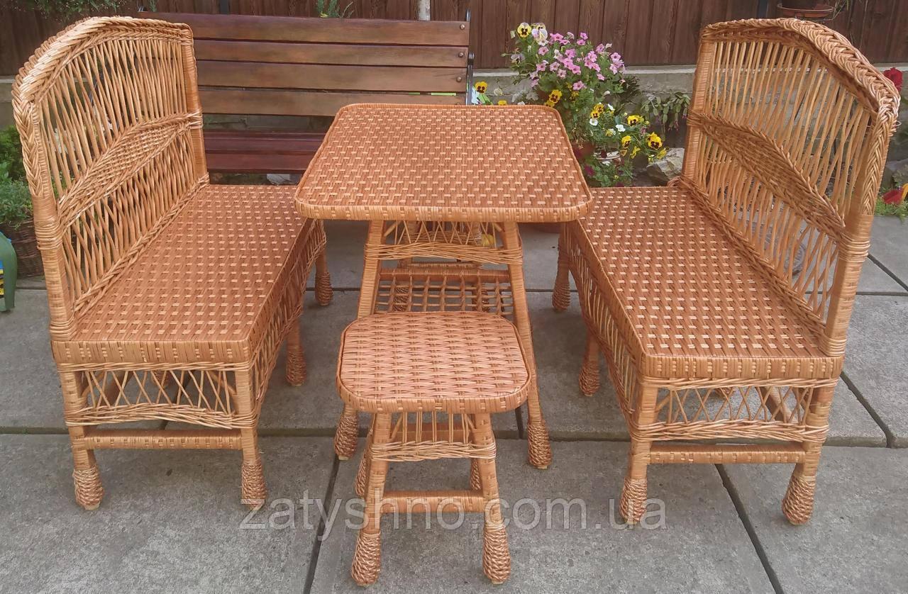 Мебель плетеная  со скамейками