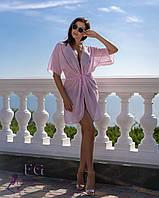 Туника для пляжа из легкого прозрачного шифона, розовое