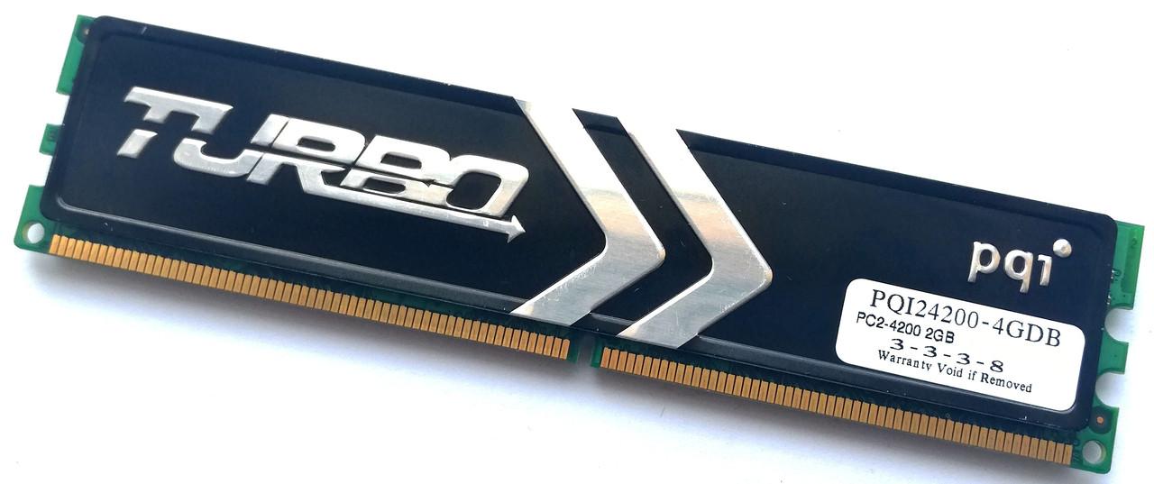 Игровая оперативная память PQI Turbo DDR2 2Gb 533MHz PC2 4200U CL3 2R8 (PQI24200-4GDB) Б/У