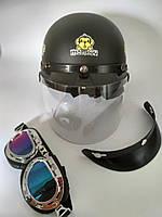 """Шлем открытый черный матовый (+козырек без стекла + очки затемненные) (размеры S(55-56), M(57-58) """"Monkey"""""""