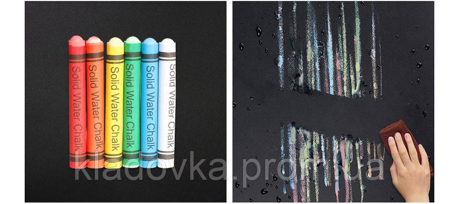 Доска-наклейка с цветными мелками для детского творчества, фото 2