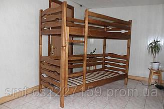 Двоповерхове ліжко Ерика можна розібрати в 2 односпальні ліжка  з натурального дерева