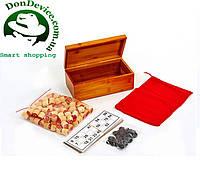 Лото настольная игра в бамбуковой коробке. Деревянные бочки 90 шт, карт 24 шт, фишки 40 шт, р- р 24x13x9,5 см