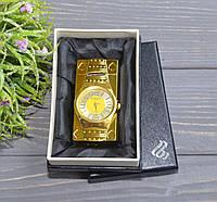 """Запальничка """"Годинник з підсвіткою"""" в подарунковій коробочці золотисті"""