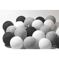 Гирлянда 20 шаров  черно-белая-серый