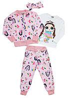 Спортивный костюм (брюки, кофта, реглан и повязка) с рисунком кукла ЛОЛ и Единорожка