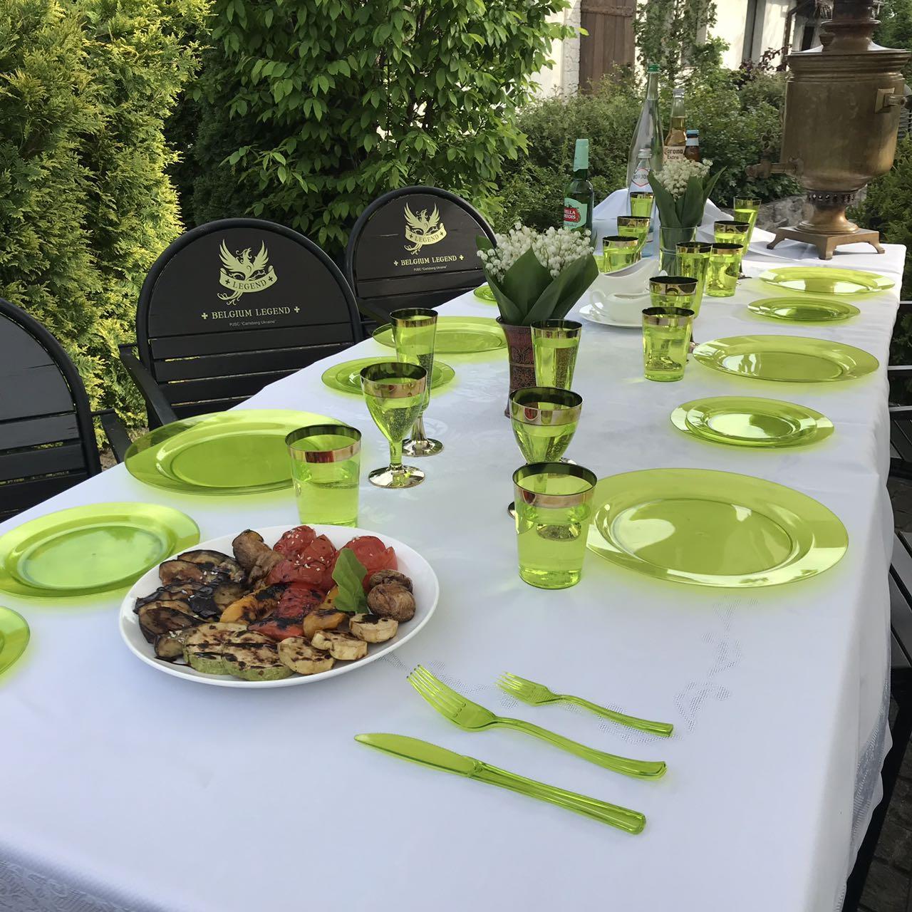 Вилки одноразовые 12 шт 188 мм плотные зеленые оптом от производителя для ресторанов, кейтеринга, хореки  CFP