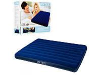 Велюровый надувной матрас Intex 68759 размером 152-203-22см, синий