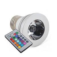 16-ти цветная 3W LED лампа с изменяющимися цветами (модель E-27-2T)