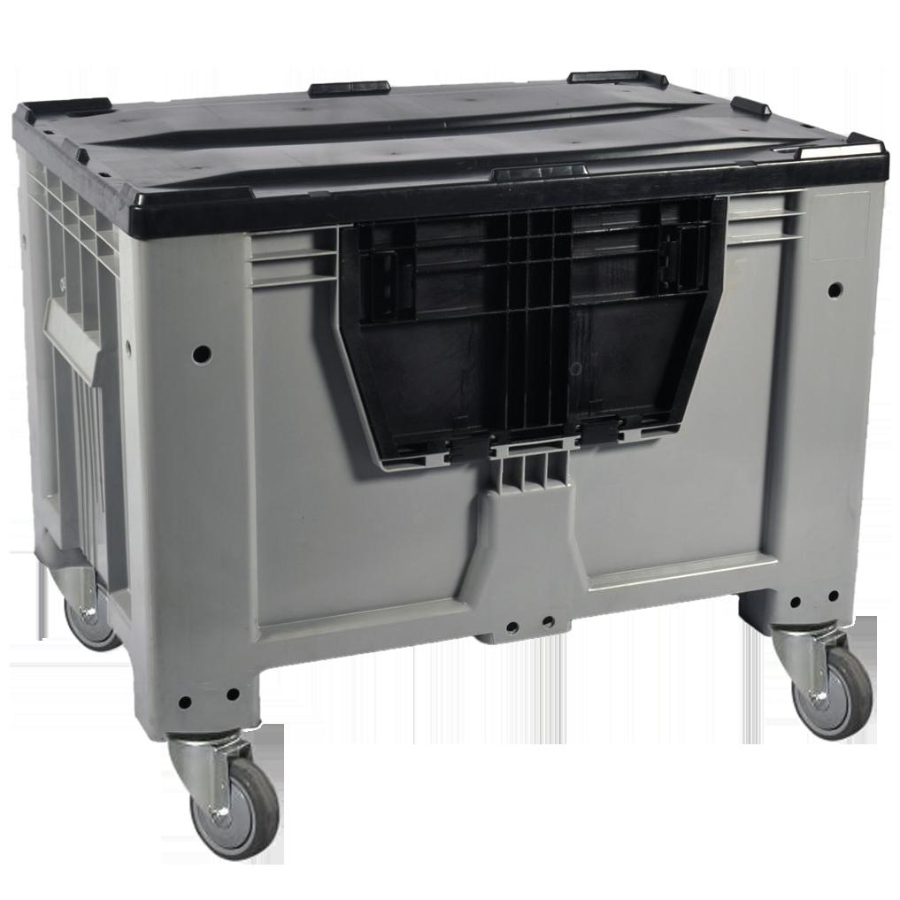 Пластиковый контейнер 1200 х 800 х 800 пищевой 510 л с откидной стенкой c колесами серый Kayalarplastik