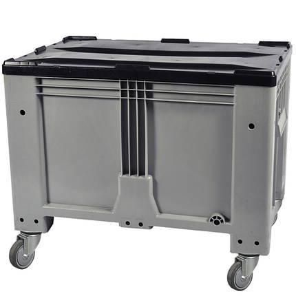 Пластиковый контейнер 1200 х 800 х 800 пищевой 510 л с откидной стенкой c колесами серый Kayalarplastik, фото 2