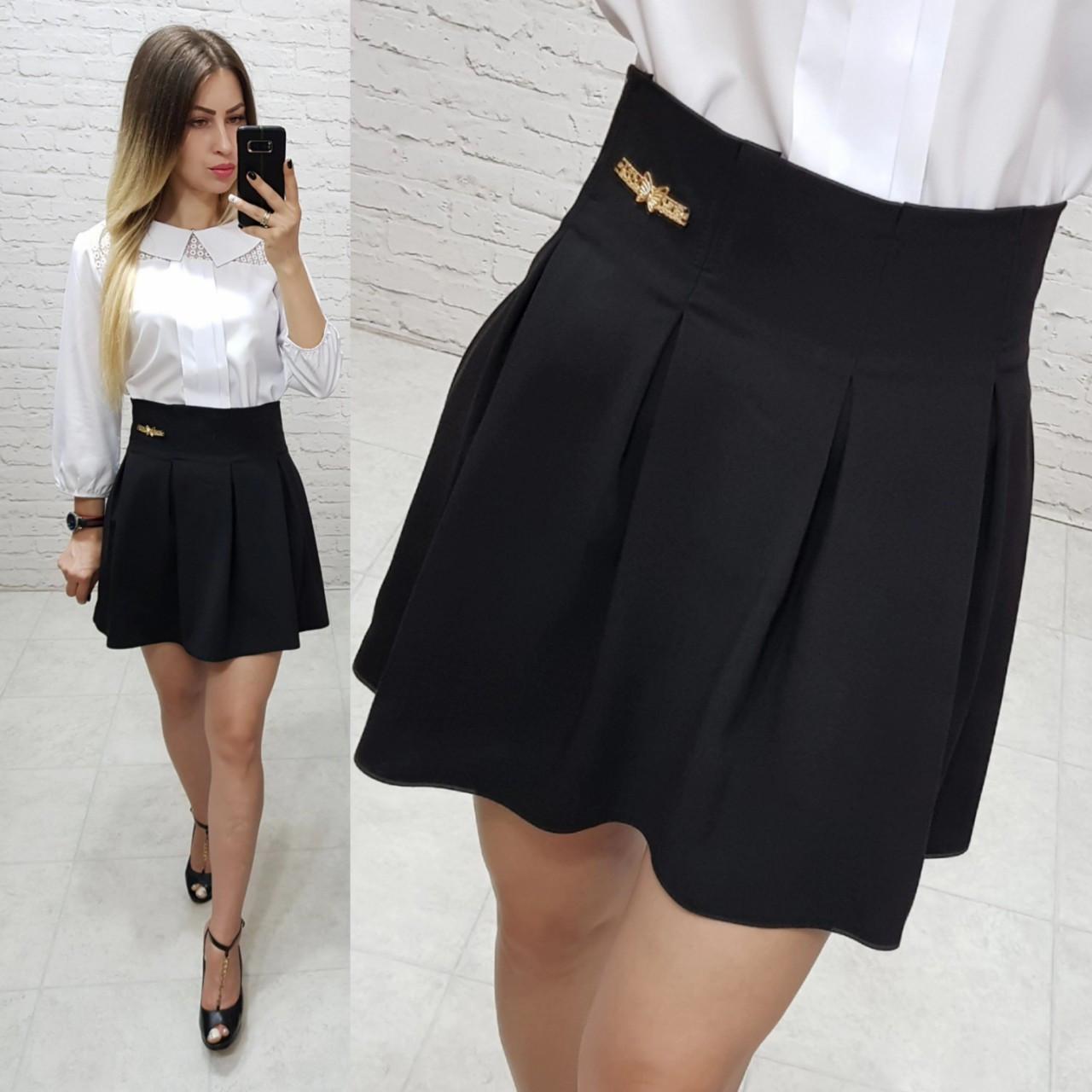 Модная юбка для девочек в складку черного цвета, ткань полушерсть, арт. 1010