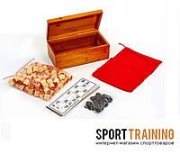 Лото настольная игра в бамбуковой коробке (90 дер.боч, 24 карт, 40пласт.фиш, р-р 24x13x9,5см)